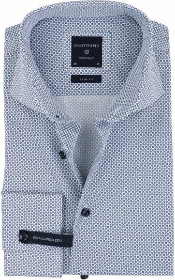 Profuomo Overhemd Strijkvrij Navy Cirkels SL7