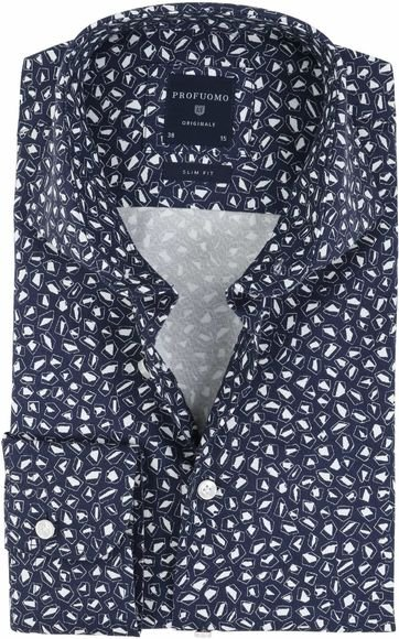 Profuomo Overhemd Strijkvrij Navy Dessin