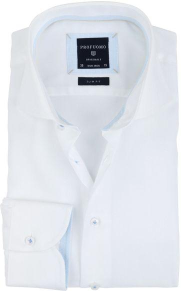 Profuomo Overhemd Strijkvrij Wit Blauw