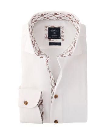 Profuomo Overhemd Strijkvrij Wit + Bruin