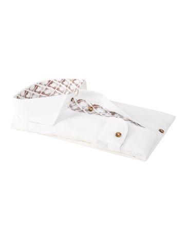 Detail Profuomo Overhemd Strijkvrij Wit + Bruin