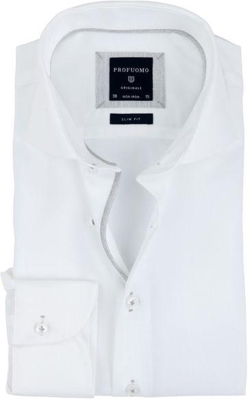 Profuomo Overhemd Strijkvrij Wit Grijs