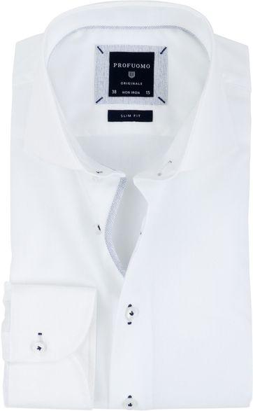 Profuomo Overhemd Strijkvrij Wit Navy