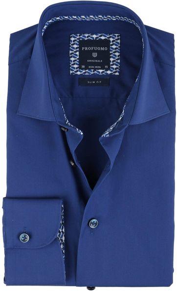 Foto Profuomo Overhemd Uni Blauw Non Iron