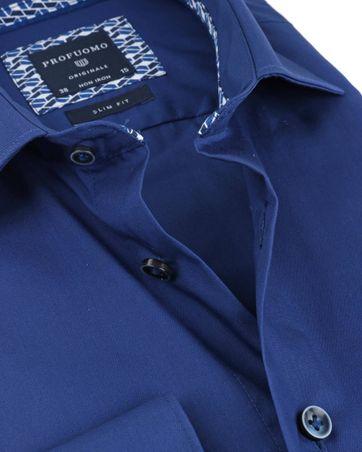 Detail Profuomo Overhemd Uni Blauw Non Iron