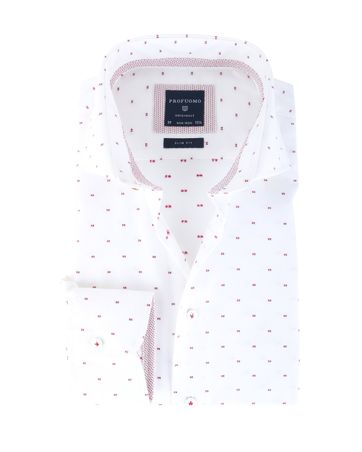 Profuomo Overhemd White + Red Slim Fit