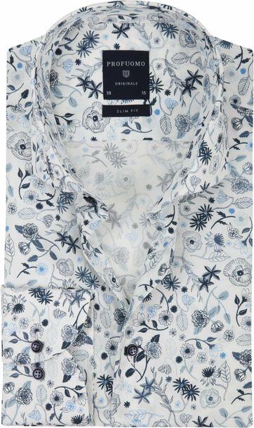 Profuomo Overhemd Wit Dessin Blauw