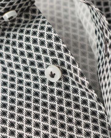 Detail Profuomo Overhemd Zwart Dessin