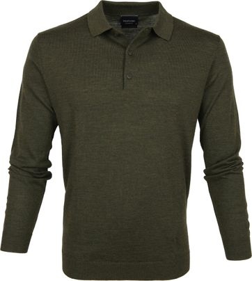 Profuomo Polo Shirt Longsleeve Merino Dark Green