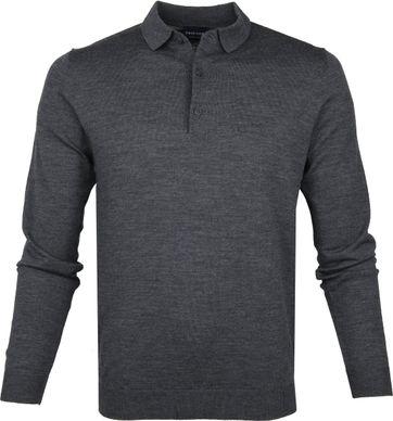 Profuomo Polo Shirt Longsleeve Merino Dark Grey