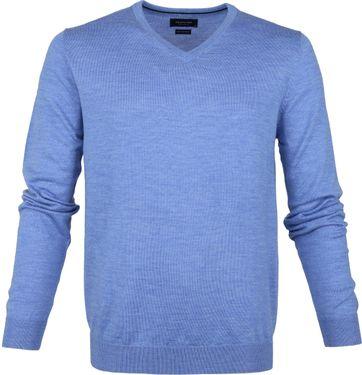 Profuomo Pull Merino V-Neck Blue