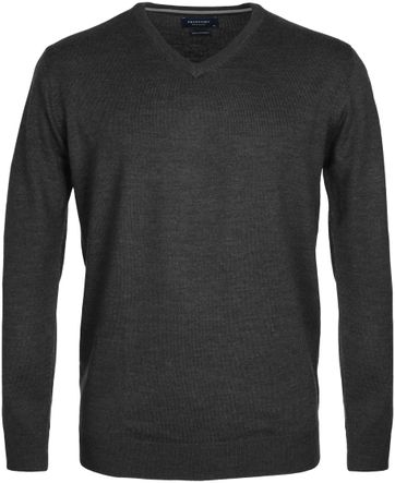 Profuomo Pull Merino V-Neck Dark Grey