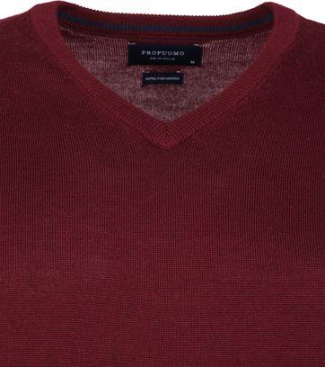 Profuomo Pullover Merino V-Hals Bordeaux