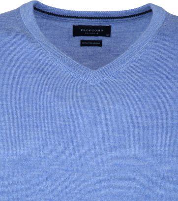 Profuomo Pullover Merino V-Neck Blue