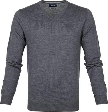Profuomo Pullover Merino V-Neck Dark Grey