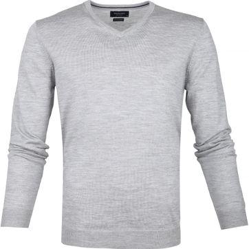Profuomo Pullover Merino V-Neck Grey
