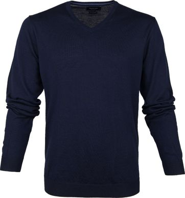 Profuomo Pullover V-Hals Marine