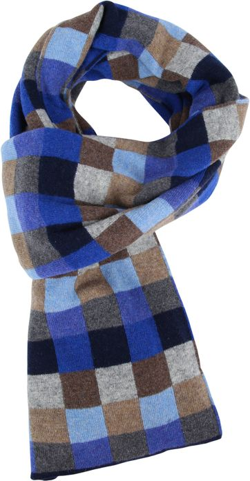 Profuomo Scarf Blue Checks Wool