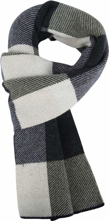 Profuomo Scarf Check Dark Grey Olive
