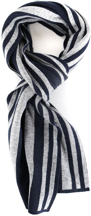 Profuomo Scarf Navy + Grey Stripes