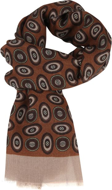 Profuomo Scarf Woven Vintage Print Brown