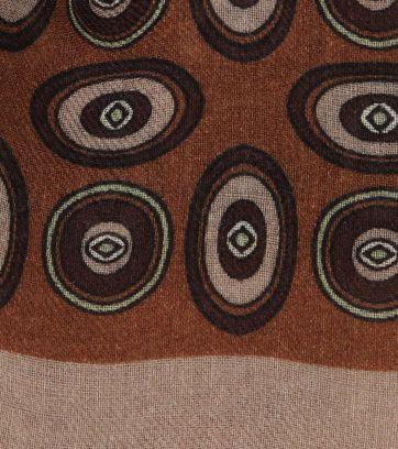 Profuomo Scarf Woven Vintage Print Brown