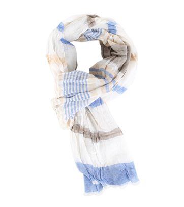Profuomo Schal Blau - Beige Streifen