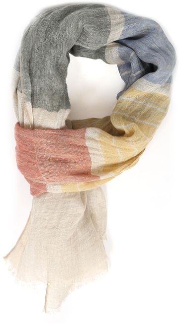 Profuomo Schal Leinen Gewoben Multicolour