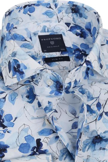 Profuomo SF Overhemd Bloemen Blauw