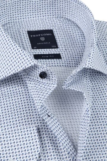 Profuomo SF Overhemd Printed Blauw