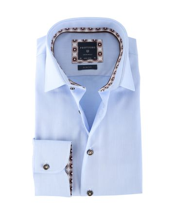 Profuomo Shirt Blauw Strijkvrij