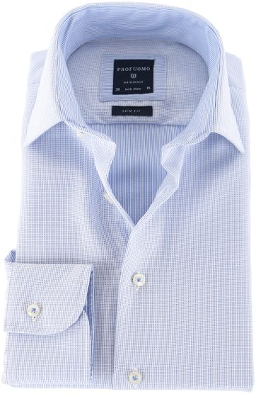 Profuomo Shirt Blauwe Pinpoint