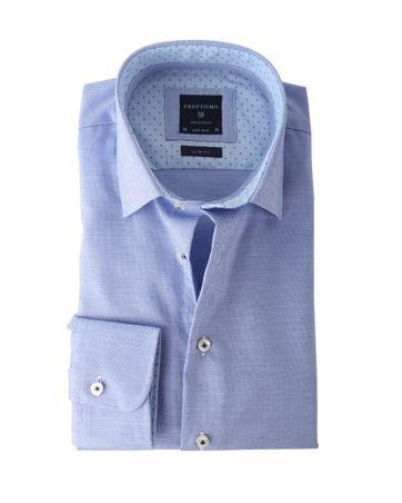 Profuomo Shirt Blauw+Wit Strijkvrij