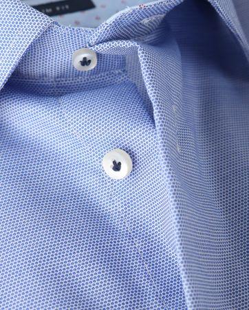 Detail Profuomo Shirt Blauw+Wit Strijkvrij