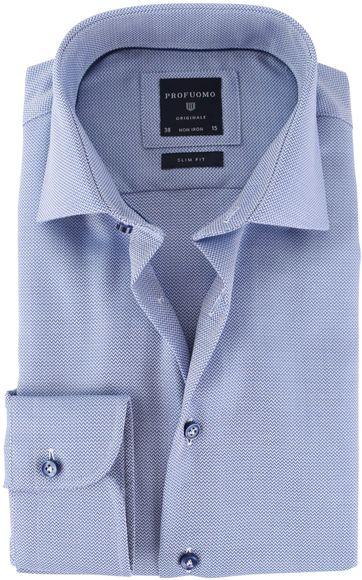 Profuomo Shirt Cutaway Blauw Herringbone