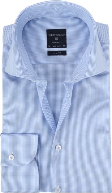 Profuomo Shirt Cutaway Blue Checkered