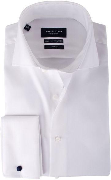 Profuomo Shirt Cutaway Doppel Manschette Weiß