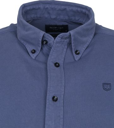 Profuomo Shirt Garment Dyed Button Down Blue