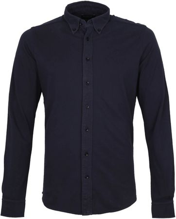 Profuomo Shirt Garment Dyed Button Down Navy