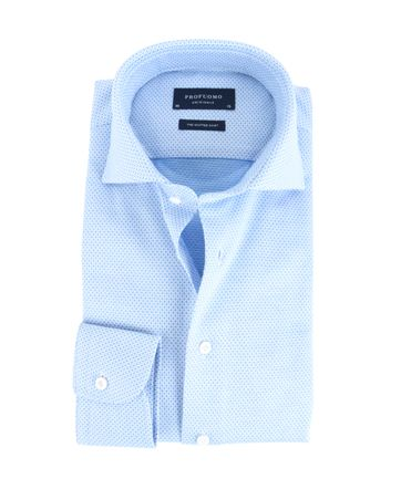 Profuomo Shirt Knitted Blauw Cutaway