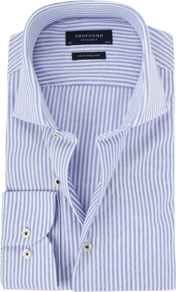 Profuomo Shirt Knitted Stripes Blue