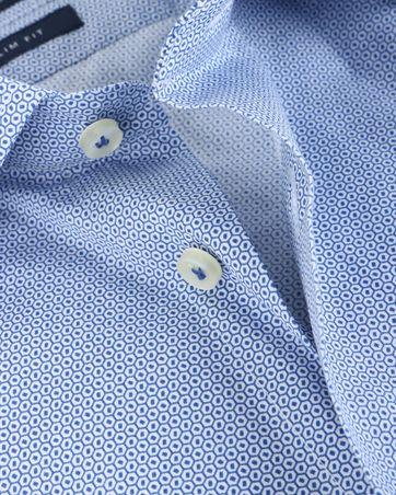 Detail Profuomo Shirt Print Blauw Strijkvrij
