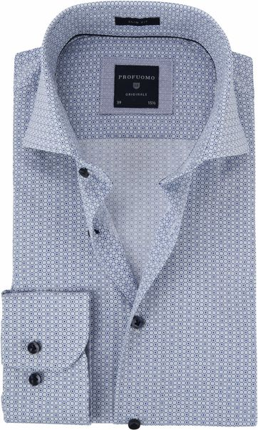 Profuomo Shirt Printed Blue