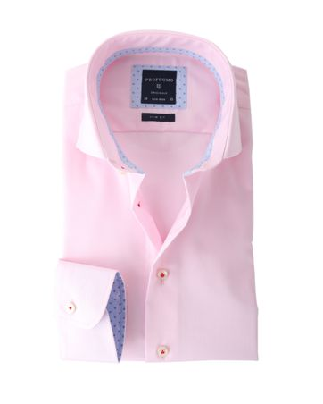Profuomo Shirt Roze Strijkvrij