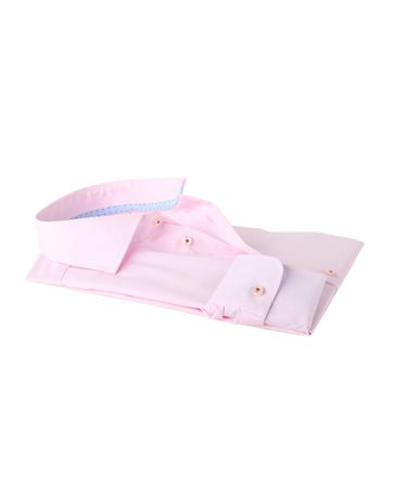Detail Profuomo Shirt Roze Strijkvrij