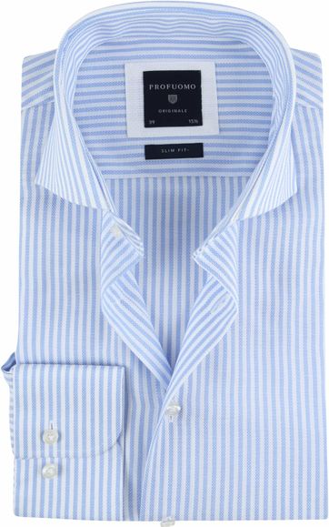 Profuomo Shirt SF Ice Cotton Blue Stripes