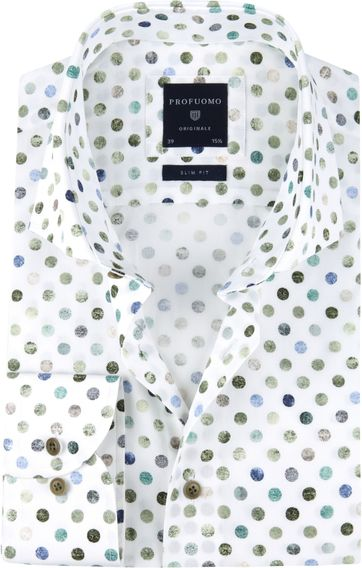 Profuomo Shirt SF Polka Dot Green
