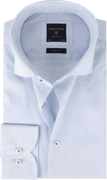 Profuomo Shirt SF Poplin Checkered blue
