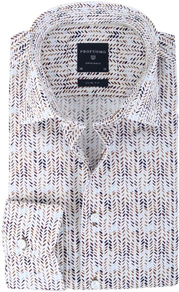 Profuomo Shirt Slim Fit Brown Print