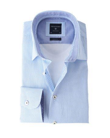 Profuomo Shirt Wit+Blauw